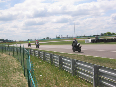 Trackday pics of myself and my friends on their bikes on the track -- Joe on his R1 in this shot.