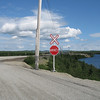 Railroad crossing with stop sign