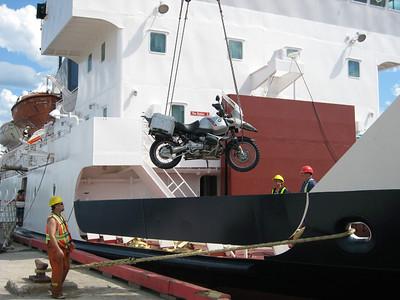 Unloading the bike
