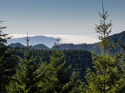 From Grindstone peak, the fog is banked up on Cape Lookout.