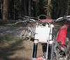 We pack a little extra fuel on the trials bikes for the trail ride out to Funny Rocks area. Hebo Aux Tank feeds into main tank automatically.