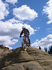 """Interesting rock formations to ride on. Like a """"Mino-Moab""""."""