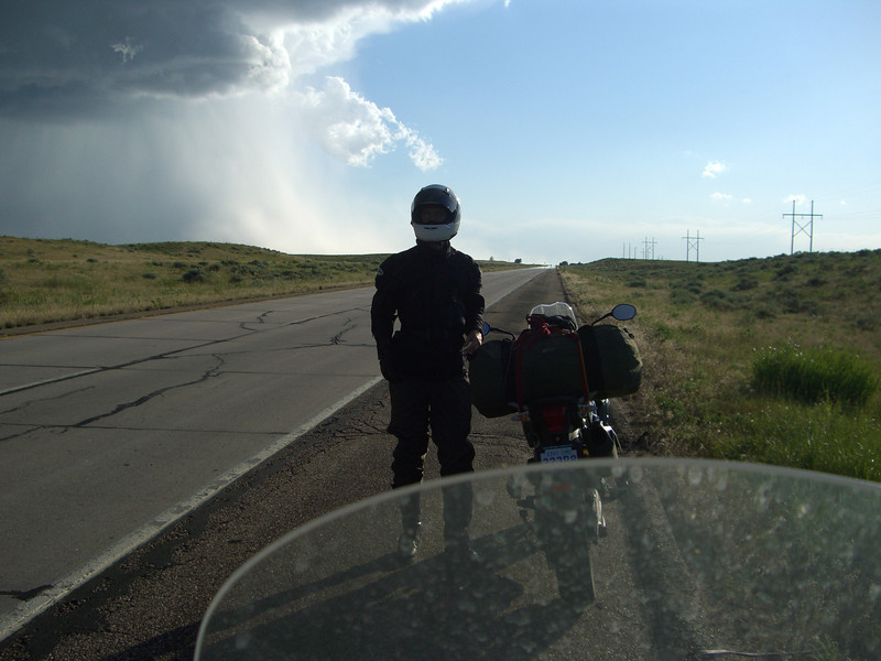 We thought we dodged this storm as we entered CO.  Turns out the wind shear a few minutes after this pic was taken almost threw us off our bikes.