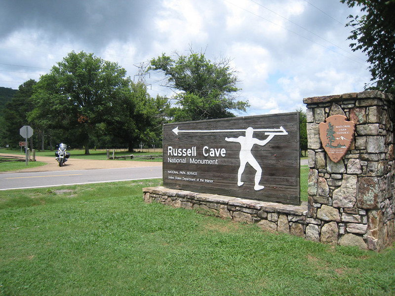 Entrance to Russell Cave National Park, Monday enroute to MOA rally.