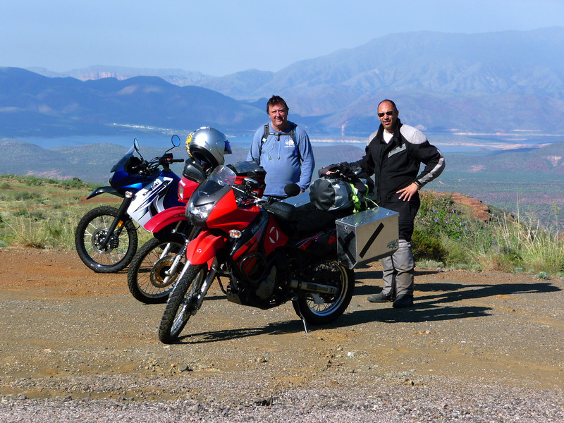 James and Bobby with Roosevelt Lake/Tonto Basin in the background. Hwy 288 to Young, AZ.