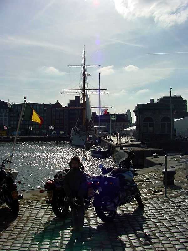 "The ""Mercator"" in the port of Antwerp. (Picture taken against the sun)"