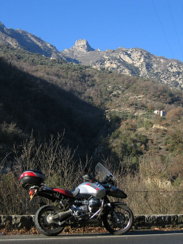 Looking up towards the Madonne d'Utelle from the main road D2565