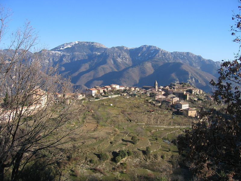 Looking down onto the village of Utelle.
