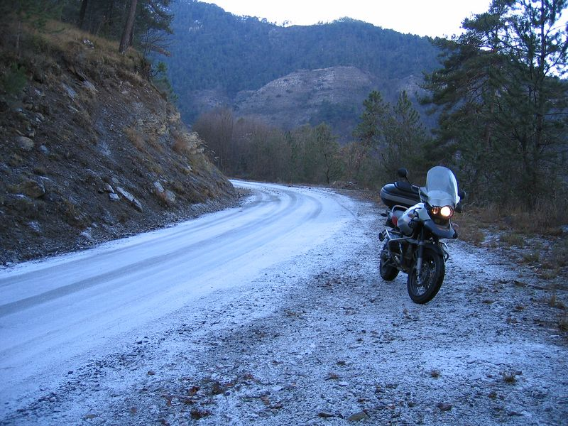 Even in the south of France the roads get frozen. Stretches like this never see the sun for months, so freeze over, and they don't salt the tiny roads like this one.