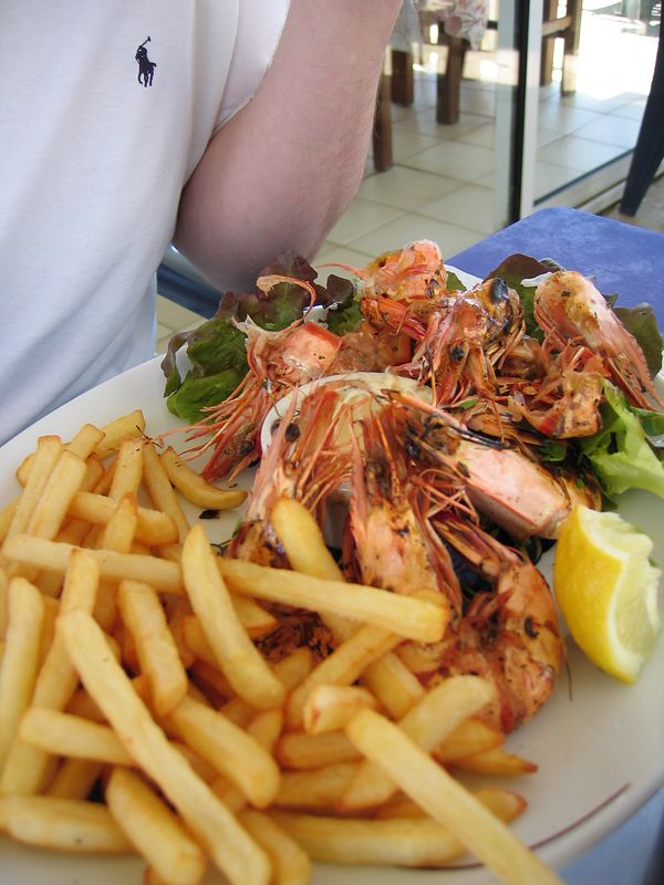our first meal, 10 minutes after getting off the ferry in Ajaccio. Grilled prawns...mmmmm