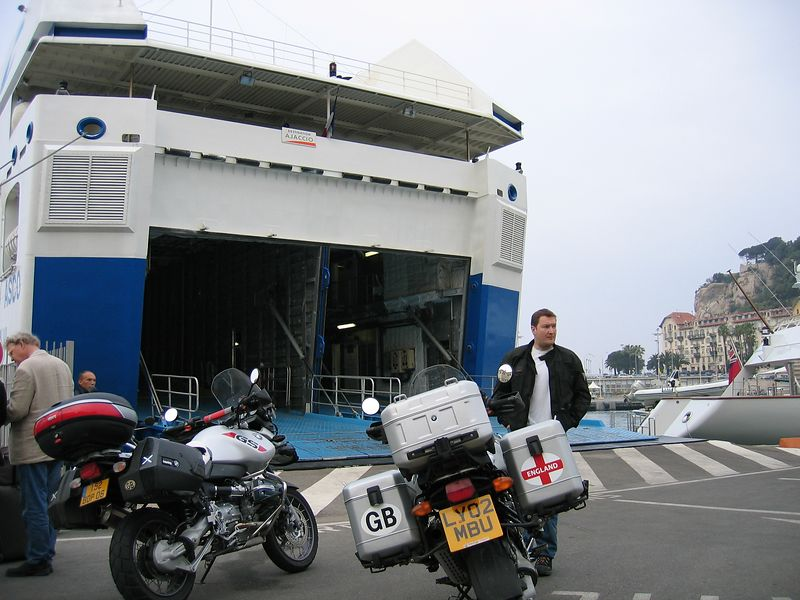 waiting for the ferry in Nice.