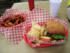 "<a href=""http://www.lovecreekorchards.com/patio.htm"">Cider Mill Cafe</a> in Medina.  SPJ Burger (Spicy Pepper Jack, with Jalapenos and Jalapeno bread).  Oddly enough, not that spicy, but very good.  Nice onion rings, too."