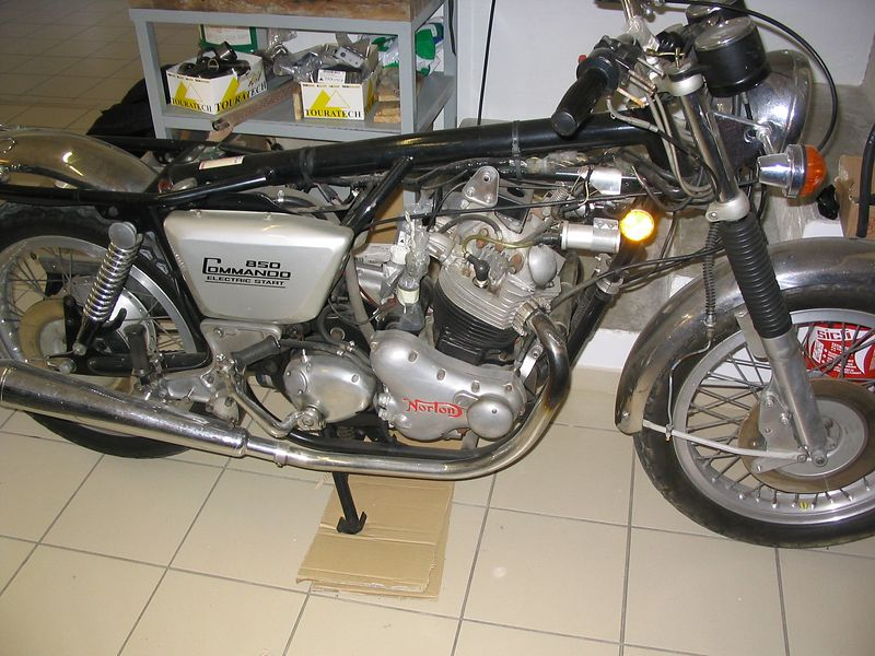 The owners Norton Commando, waiting to be kitted out with Desertio gear and knobbly tyres.