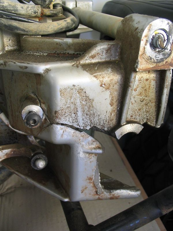 This is the left side of a GS which was hit by a Mitsubishi 4x4. The left pot saved the guys leg. His leg was broken, but the engine obviously absorbed most of the impact.