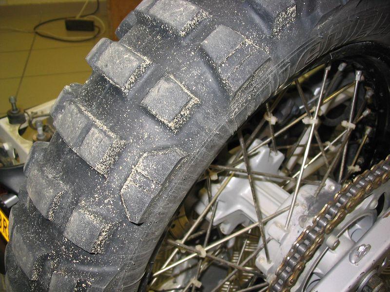 Touratech F650 Dakar bike with Dakar sand still on the tyres.