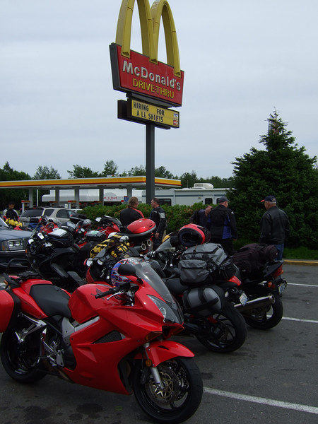 A modern meeting place. Sigh. I was tagging along for the first day and a half with these eight other riders who were headed out on an eight-day trip to Oregon, Nevada, Utah, Colorado, Wyoming, Montana and back.