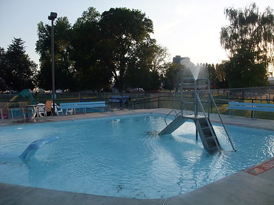 The public pool was open, free and delicious after hours of riding in 100º heat.