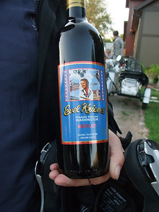 We went to Charlie's birthday party. Little did we know how appropriate the Evel Kneivel wine would be....
