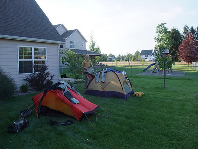 We camped behind the garage at Bob's sister's house in Missoula.