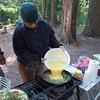 Lin adding the eggs.
