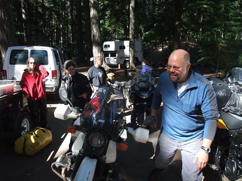 Wayne greets us at Adams Fork Campground.