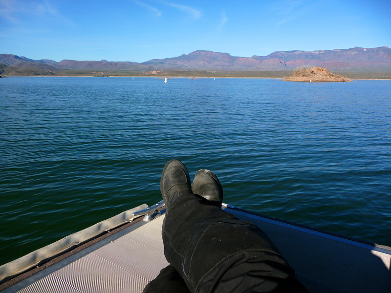 Chillin' on the dock at the boat ramp on Roosevelt Lake.