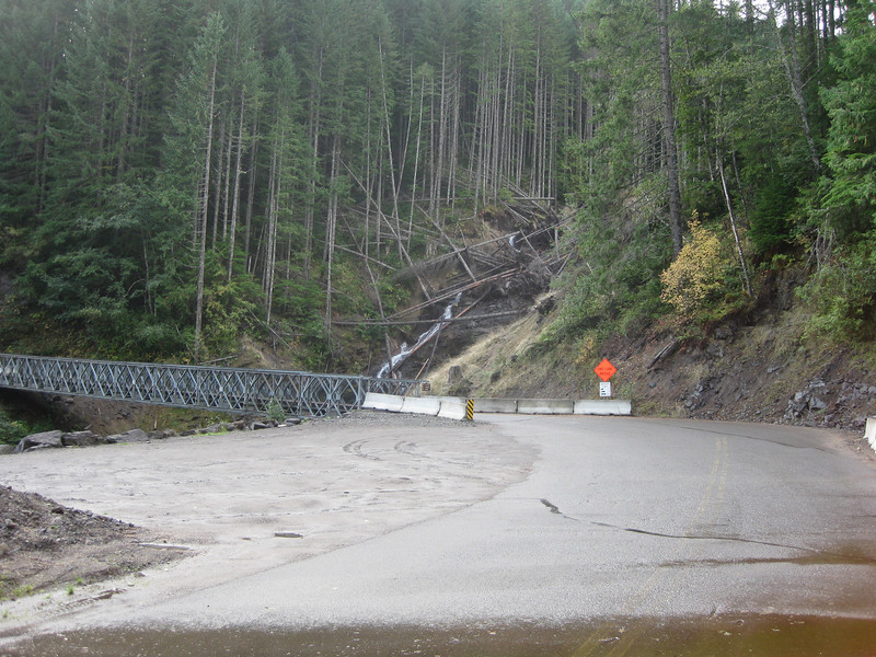 A major mud slide cuts across USFS Rd. 25.