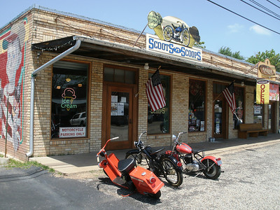 Scoots 'n Scoops in Ben Wheeler, TX.  Ice cream and antique motorcycles.  What could be better.