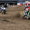 Dowdy holeshots the 2-stroke exhibition race.