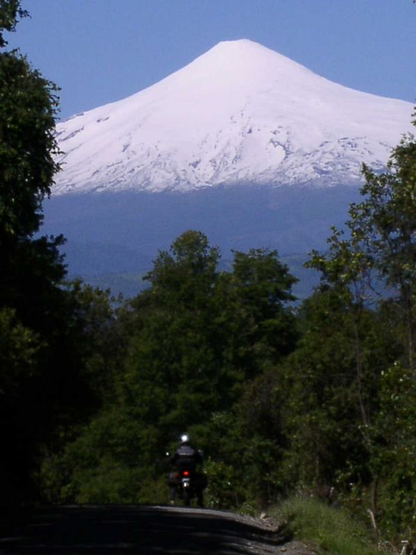 Hensley in front of Osorno, Chile, Jan 04