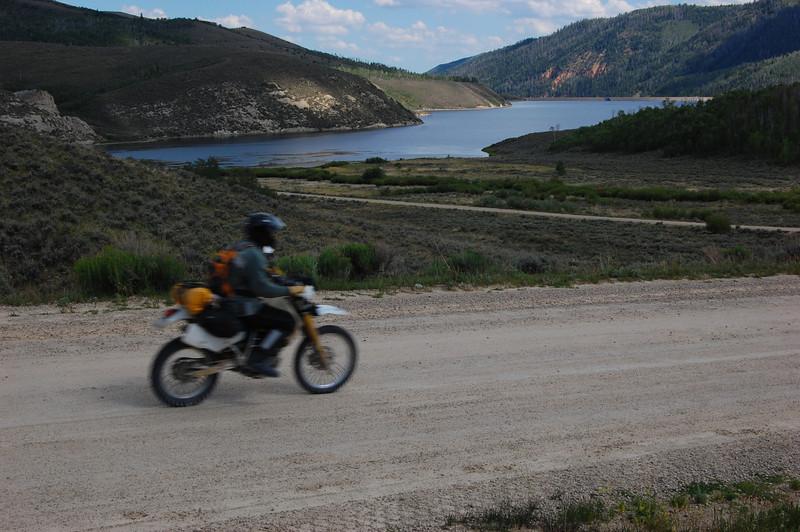 Greg passing Currant Creek Reservoir