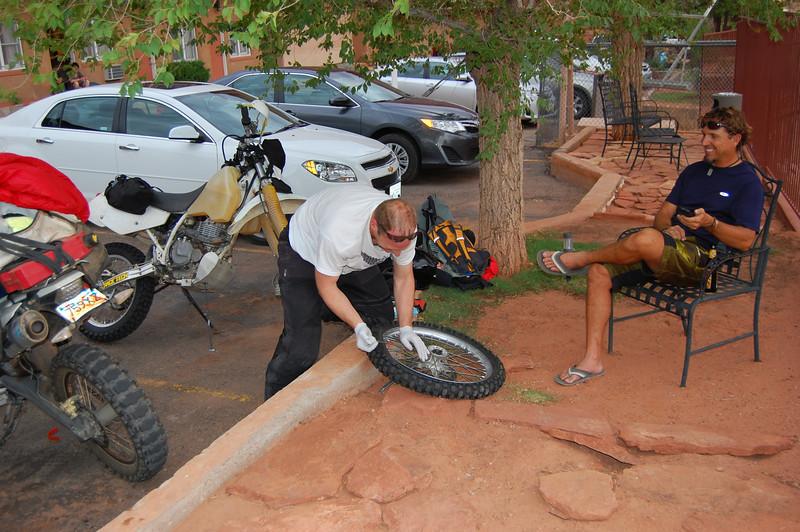 Glenn supervises Greg.  Greg always likes to start the dirt part with new rubber.
