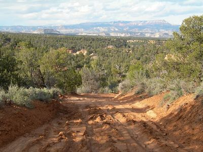 Off road shortcut...very sticky red clay after so much rain.