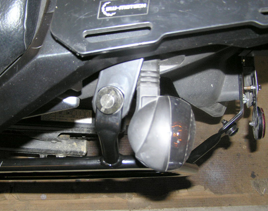 SW Motech Rack showing Buell turn signal clearance left side.