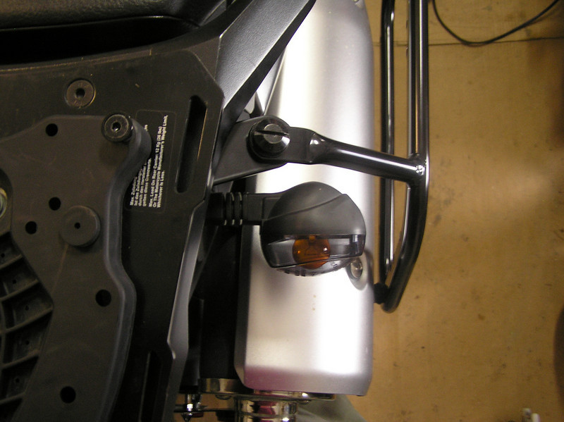 SW Motech rack and Buell turn signal clearance left side.