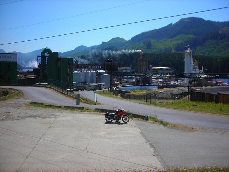 The pulp mill, that gives Port Alice a reason to exist, here loads a ship for export