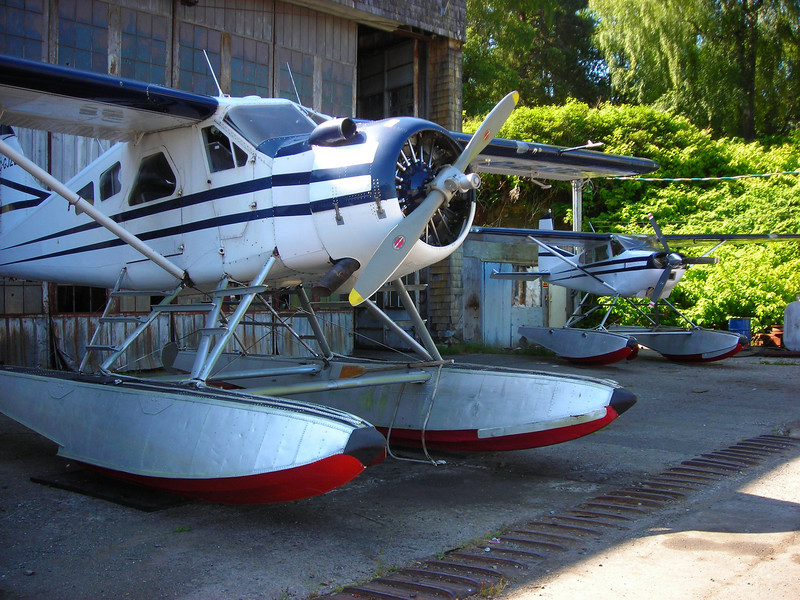 DeHavilland Beaver and Cessna float planes at Coal Harbour