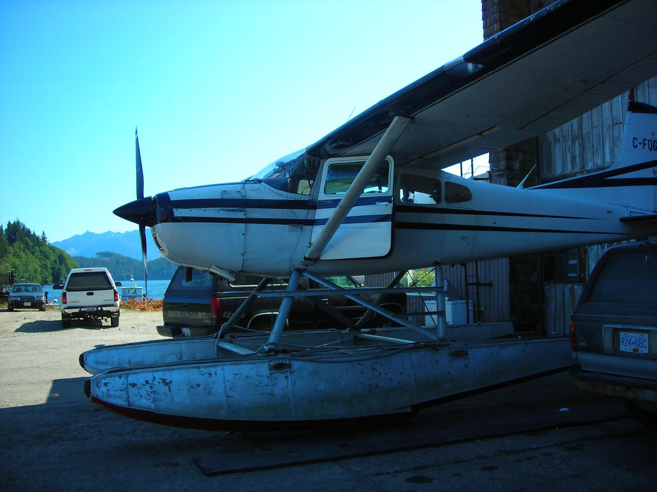 Cessna on floats at the air taxi service