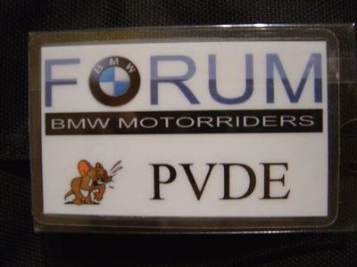 Zelfgemaakt naamkaartje, PVDE voor het BMW Forum.