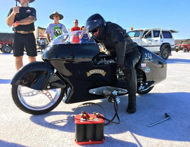 """""""Running on gas, he achieved 185.34mph (298.27kph) on his natural aspirated 1300cc Vincent """""""