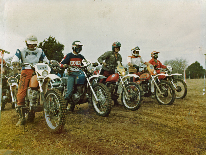 "Me on my Honda XL 250 ""Thumper"" #70E at my first Enduro. String Prairie TX, March 1978. One word describes my bike............. HEAVY! Oh, and SLOW (me)."