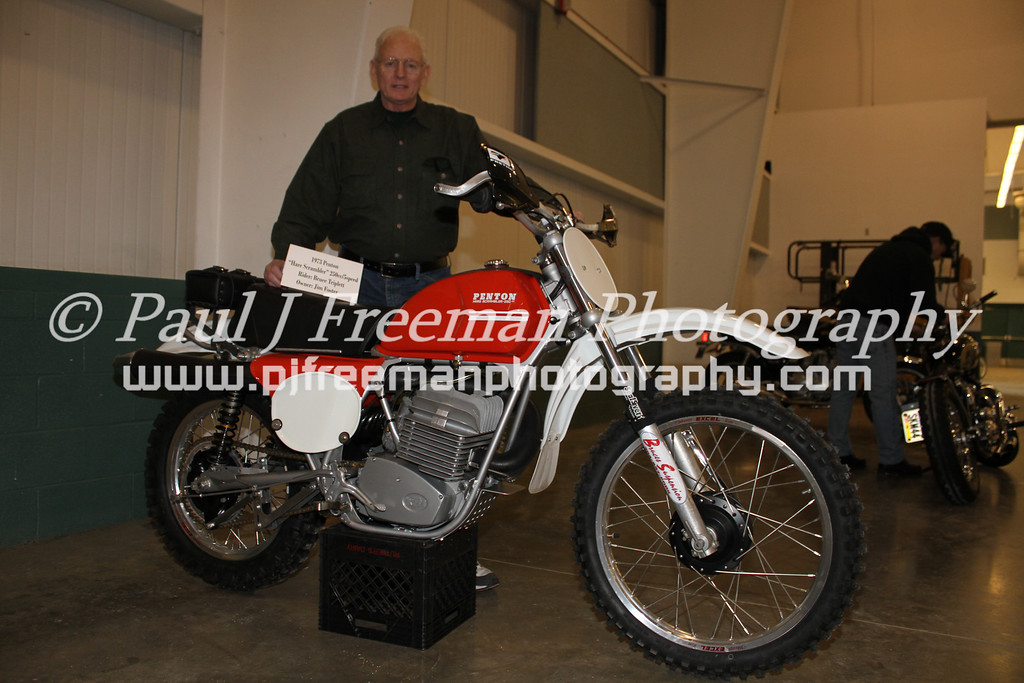 "IMG_7156  Jim Foster proudly displays his 1973 Penton 250cc ""Hare Scrambler"".<br /> Jim, please contact me @ pjfreestile@ comcast. net  (no spaces)  -Paul York, PA Vintage Swap Meet 2011"