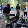 Wayne prepares the ingredients for the awesome chili. Friday night feed for arriving riders and all Volcano Moto Campers.
