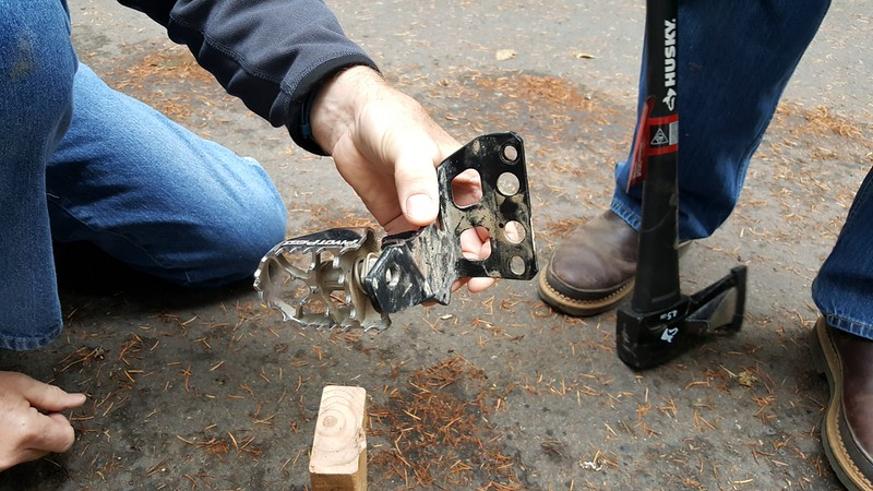 Re-Bending the footpeg bracket after dropping the bike last June