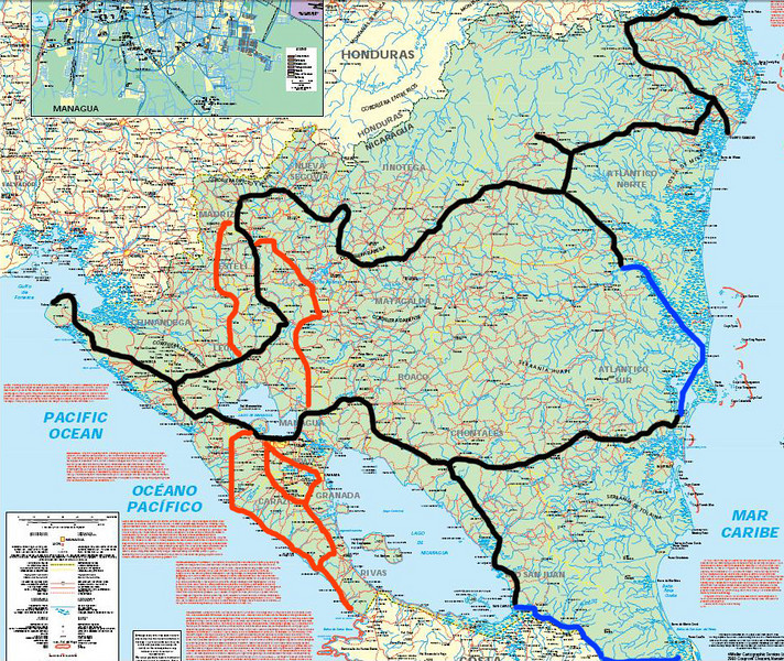 La linea negra fue lo que recorri en moto en esta gira - 2,596km.<br /> La linea azul fue lo que recorri por barco approx 400km<br /> La linea anaranjada fue lo que recorri preparandome para este viaje