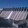 Amistad Dam, the US / Mexico border at the center.