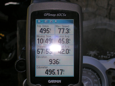 The summary of the trip down - almost 11 hours of riding time!