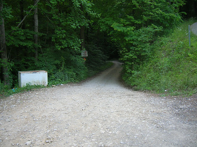 The dirt & gravel road down into the Hoot.  Sickman towed a trailer into the holler with a Chrysler sedan!