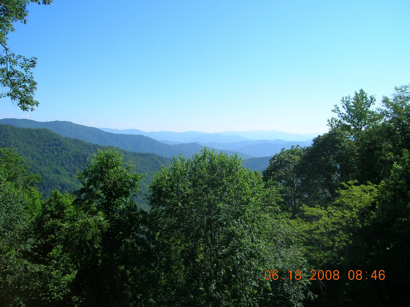 The Cherohala early in the morning.  Lots of traffic as there was a Honda Hoot in Tellico.  Left Miss Marie's rock here.