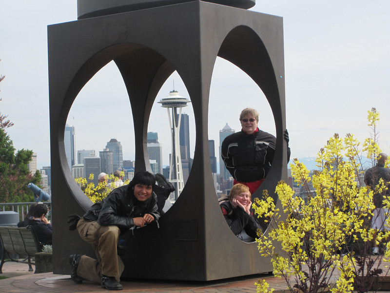 Will, Amanda, & Angela at Kerry Park with the Space Needle in the background.